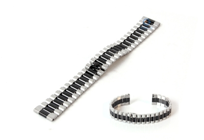 Horlogeband 18mm staal zilver zwart - deels gepolijst