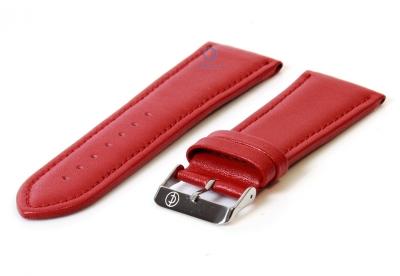 Horlogeband 28mm glad rood leer