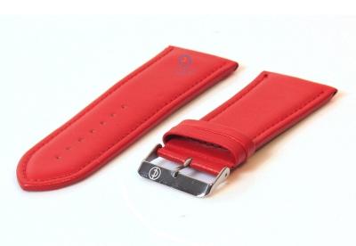 Horlogeband 30mm glad rood leer