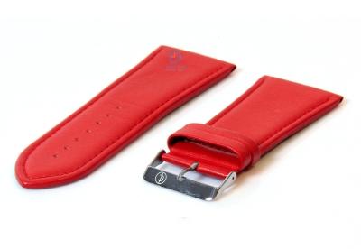 Horlogeband 34mm glad rood leer