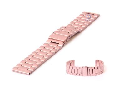 Horlogeband 24mm mat staal roze