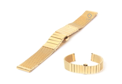 Horlogeband 20mm milanees mat goud