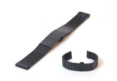 Horlogeband 22mm milanees zwart deels gepolijst