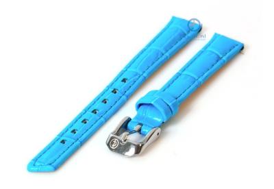 Horlogeband 12mm turquoise leer croco