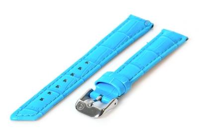 Horlogeband 16mm turquoise leer croco