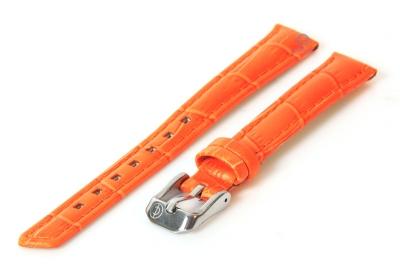 Horlogeband 12mm oranje leer croco