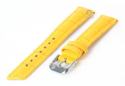 Horlogeband 16mm geel leer croco