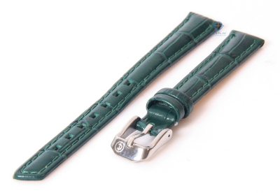 Horlogeband 14mm donkergroen leer croco