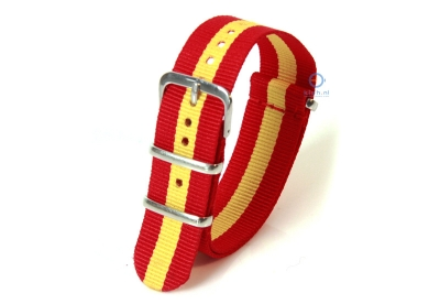 Horlogeband 18mm nylon rood/geel