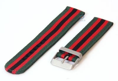Horlogeband 20mm nylon groen/rood/zwart