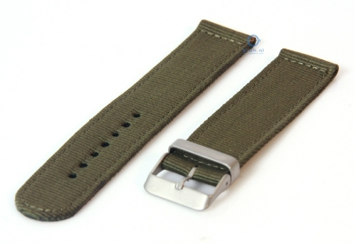 Horlogeband 20mm legergroen nylon