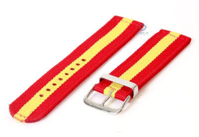 Horlogeband 22mm rood/geel nylon