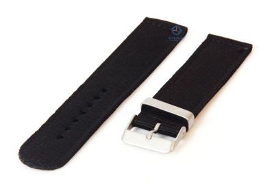 Horlogeband 24mm zwart nylon