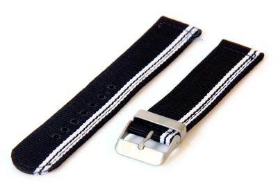 Horlogeband 22mm zwart/wit nylon