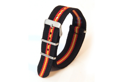 Horlogeband 18mm nylon zwart/rood/geel