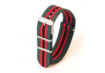Horlogeband 22mm nylon groen/rood/zwart