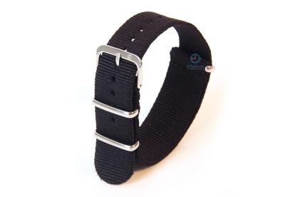 Horlogeband 18mm zwart nylon