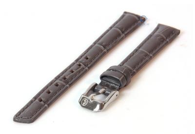 Horlogeband 14mm donkergrijs leer croco