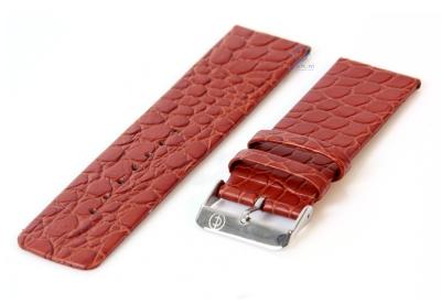 Horlogeband 26mm lichtbruin leer croco