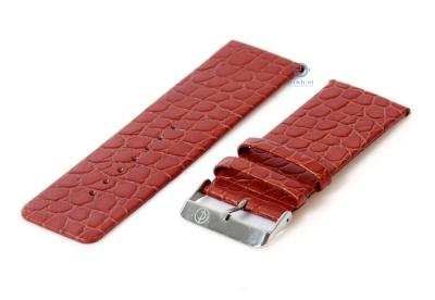 Horlogeband 28mm lichtbruin leer croco