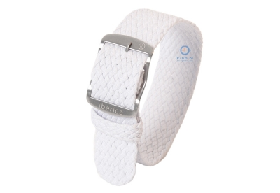 Horlogeband 22mm perlon wit