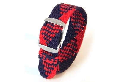Horlogeband 22mm nylon blauw/rood