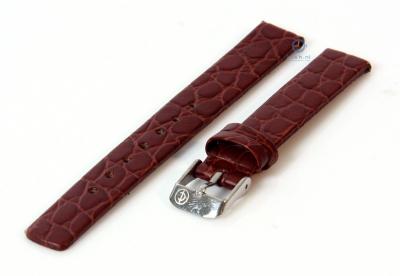 Horlogeband 10mm donkerbruin leer croco