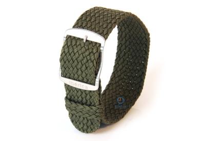 Horlogeband 22mm perlon donkergroen
