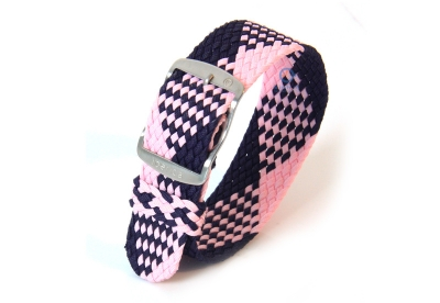 Horlogeband 20mm perlon blauw/roze