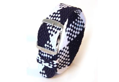 Horlogeband 20mm perlon blauw/wit