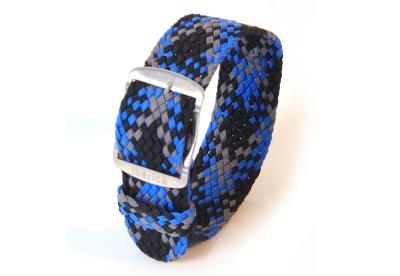 Horlogeband 22mm perlon blauw/grijs/zwart