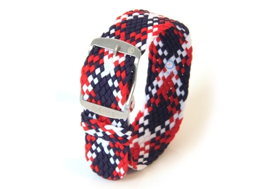 Horlogeband 20mm perlon rood/wit/blauw