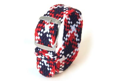 Horlogeband 22mm perlon rood/wit/blauw