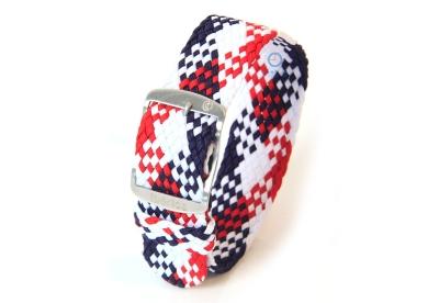 Horlogeband 20mm perlon wit/blauw/rood