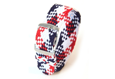 Horlogeband 22mm perlon wit/blauw/rood