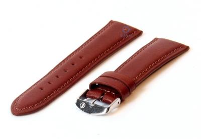 Horlogeband 14mm donkerbruin kalfsleer