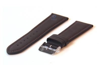 Horlogeband 28mm donkerbruin leer