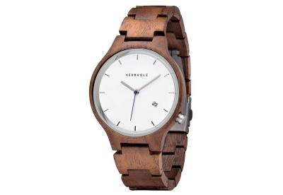 Kerbholz Lamprecht horlogeband Date Walnut Silver
