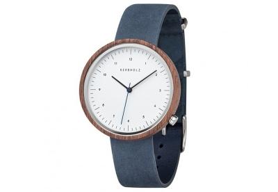 Kerbholz Heinrich horlogeband walnut/slate blue