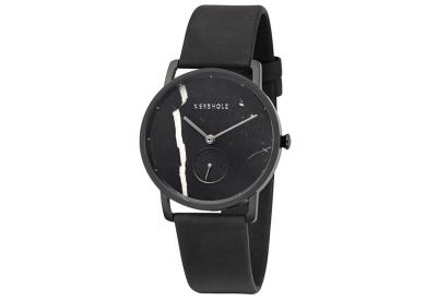 Kerbholz Frida horlogeband black marble/midnight black