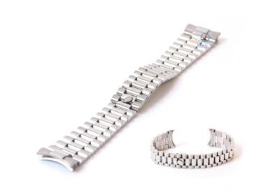 Rolex style horlogeband 20mm staal zilver