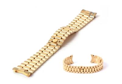Rolex style horlogeband 20mm staal goud