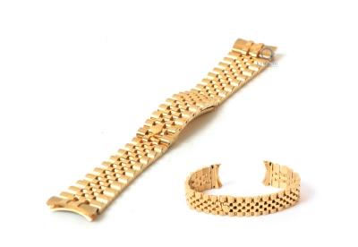 Rolex style horlogeband 17mm staal goud