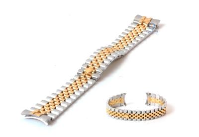 Rolex style horlogeband 20mm staal zilver/goud