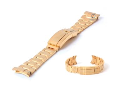 Rolex style horlogeband 21mm staal goud