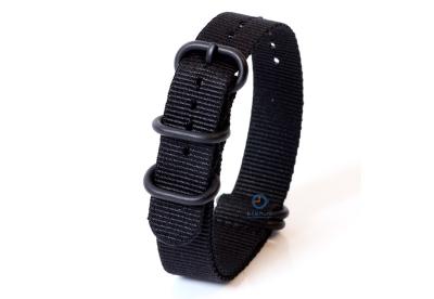 Horlogeband nylon 18mm zwart