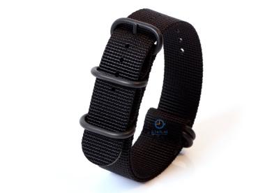 Horlogeband nylon 22mm zwart