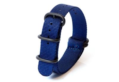 Horlogeband nylon 20mm blauw