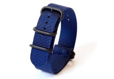 Horlogeband nylon 22mm blauw