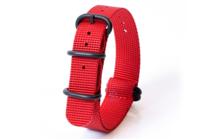 Horlogeband nylon 20mm rood